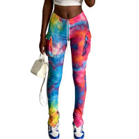 Casual Tie Dye Slit Micro Flared Sweatpants with Pocket
