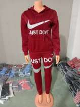Casual Air Layer Embroidered Letter Hoodie Pant Set