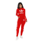 Casual Air Layer Embroidered Letter Stitching Hoodie Pant Set