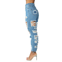 Casual Straight Leg Pants Ripped Washed Jeans