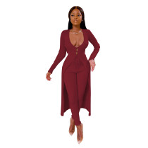 Casual Stitching Pit Deep V Cloak and Trousers