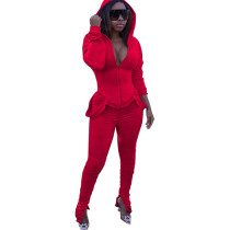 Casual Solid Color Hoodie Stacked Sweatsuit Sports Set