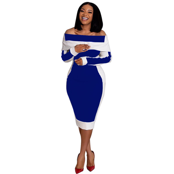 Casual Off Shoulder Color Matching Midi Dress