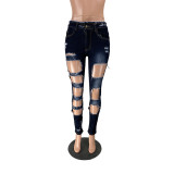 Casual Ripped High Stretch Jeans
