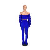 Casual Irregular Shirring Off Shoulder Crop Top and Pant Set