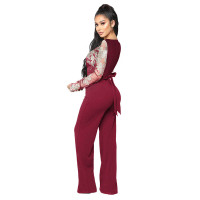 Casual Embroidery Lace V Neck Long Sleeve Jumpsuit with Wide Leg