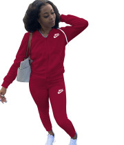 Casual Air Layer Embroidery Letter Sports Two Piece Set