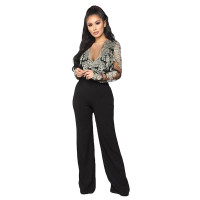Casual Embroidery Lace V-neck Long Sleeve Jumpsuit with Wide Leg
