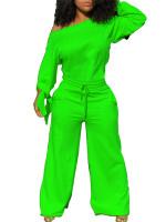 Solid Color Loose Cotton Sweatshirt Jumpsuit