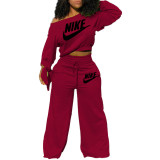 Casual Embroidered Sweatshirt Two Piece Set