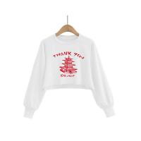 Autumn Pattern Print Round Neck Crop Sweatshirt