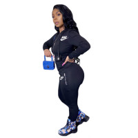Solid Color Embroidered Letter Hooded Sports Two Piece Outfits