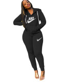 Casual Letter Embroidery Hoodie Jogging Sweatshirt Two Piece Set