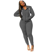 Solid Color Sport Hooded Two Piece Set