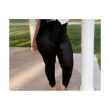 Solid Color Leather Pants