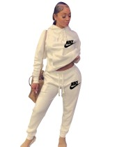 Casual Letter Embroidered Hooded Sweatshirt Pant Set