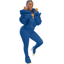 Puffed Slit Puff Sleeve Hooded Sports Two-piece Set