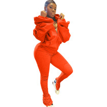 Copy Puffed Slit Puff Sleeve Hooded Sports Two-piece Set