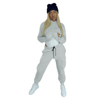 Solid Color Multi Pocket Hoodie Sports Pant Set