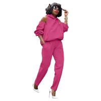 Casual Zipper Cold Shoulder Hoodie Sweatsuit Pant Set