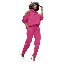 Casual Zipper Cold Shoulder Hoodie Sweatsuit Pant Set