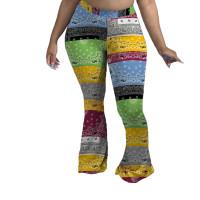 Casual Print Flared Pants