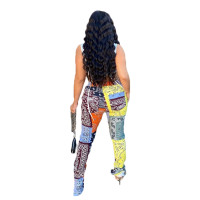 Contrast Patchwork Print Slit Trousers