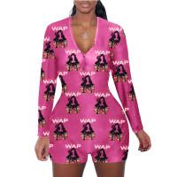 Casual Pattern Print Loungewear Shorts Jumpsuit