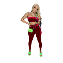 Solid Color Velvet Wrap Crop Top and Trouser