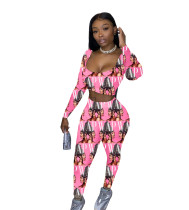 Casual Pattern Printed Two Piece Set