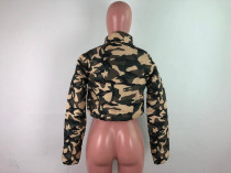 Army Green Camouflage Print Down Jacket