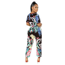 Casual Pattern Printed Pant Set