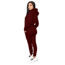 Solid Color Sports Hooded Two Pant Set