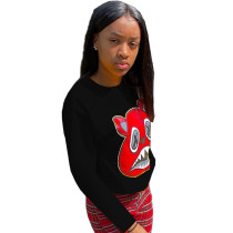 Casual Cartoon Print Sweatshirt