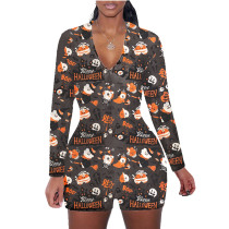 Halloween Pattern Print Shorts Loungewear Romper