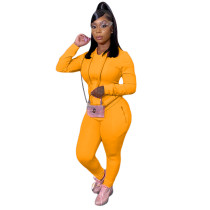 Solid Color Hooded Blouse and Trousers with Pocket