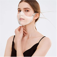 Durable Face Protection For Adult Mouth ,Shield Combine Plastic Reusable Washable Clear Face Covering