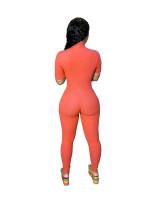 Casual Short Sleeve Pit Zipper Jumpsuit