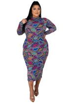 Plus Size Fat Printed Mid Dress