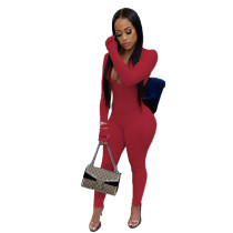 Solid Color Pit Embroidered Letters High Neck Jumpsuit
