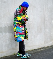 Camouflage Print Dyeing Long Jacket Down