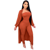 Solid Color Ribbed Pit Jumpsuit with Cloak