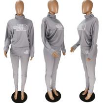 Casual High Collar Print Letter Sports Jogging 2 Pcs Set