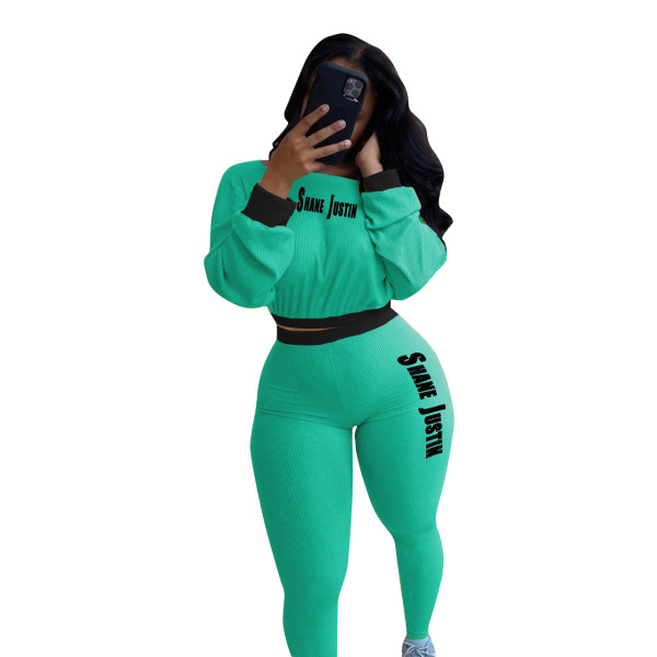 Solid Color Ribbed Letters Sports Pant Set