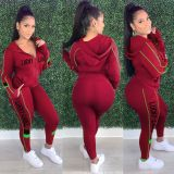 Casual Stitching Letters Sports Two Piece Outfits