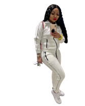 Winter Zipper Stitching Sports Two Piece Outfits