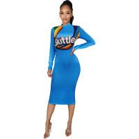 Casual Long Sleeve Pattern Printed Midi Dress