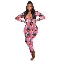 Casual V Neck Homewear Pattern Print Jumpsuit