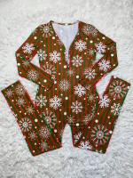 Casual Christmas Printed Long Sleeve Trousers Homewear Jumpsuit