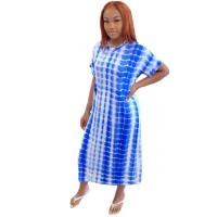 Casual Plaid Tie Dye Mid Dress